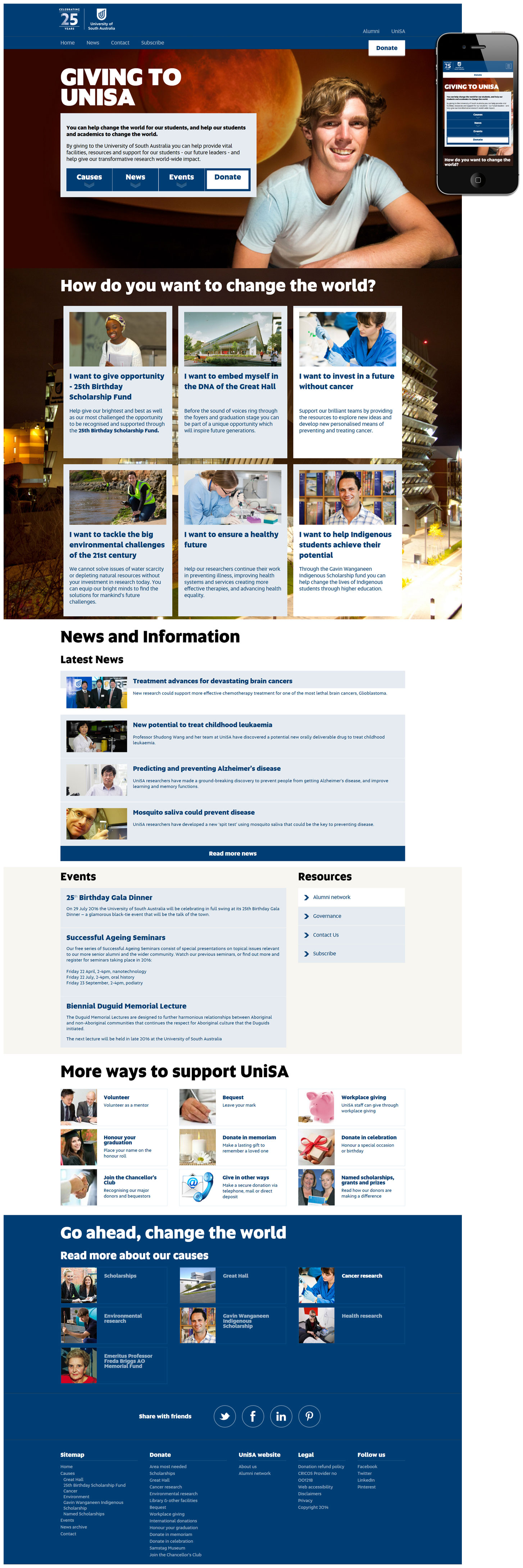 Created whilst working at University of South Australia for the Alumni team. Subsequent to the initial design and build process the site was handed over for ongoing content updates and modifications.