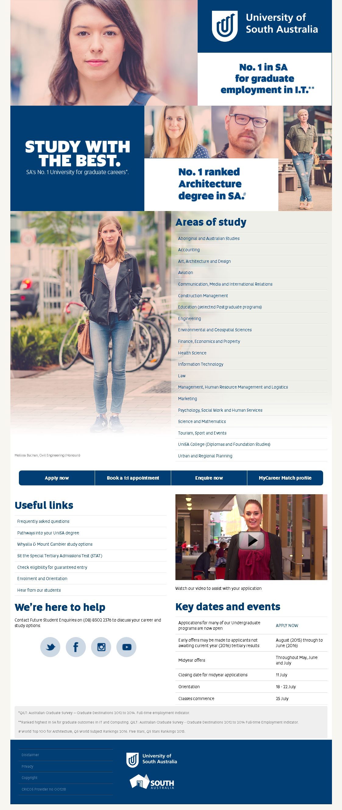 Design and development of a campaign website. Project undertaken whist working at University of South Australia.