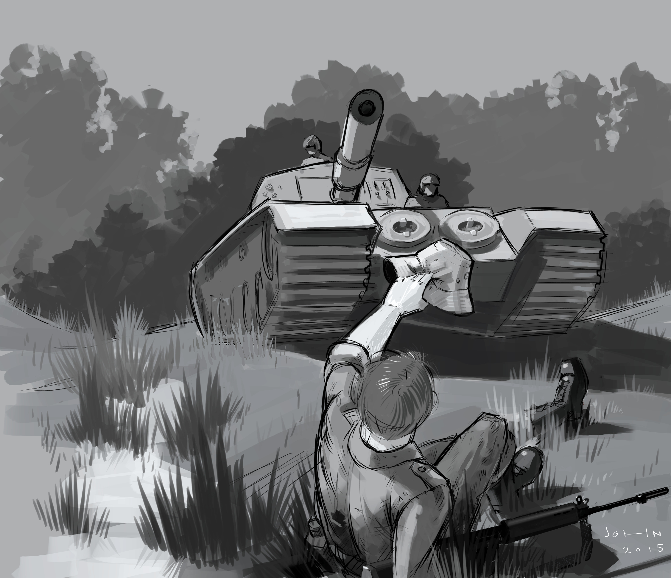 Digital illustration depicting a true event of an Australian digger's rescue in the Vietnam War.