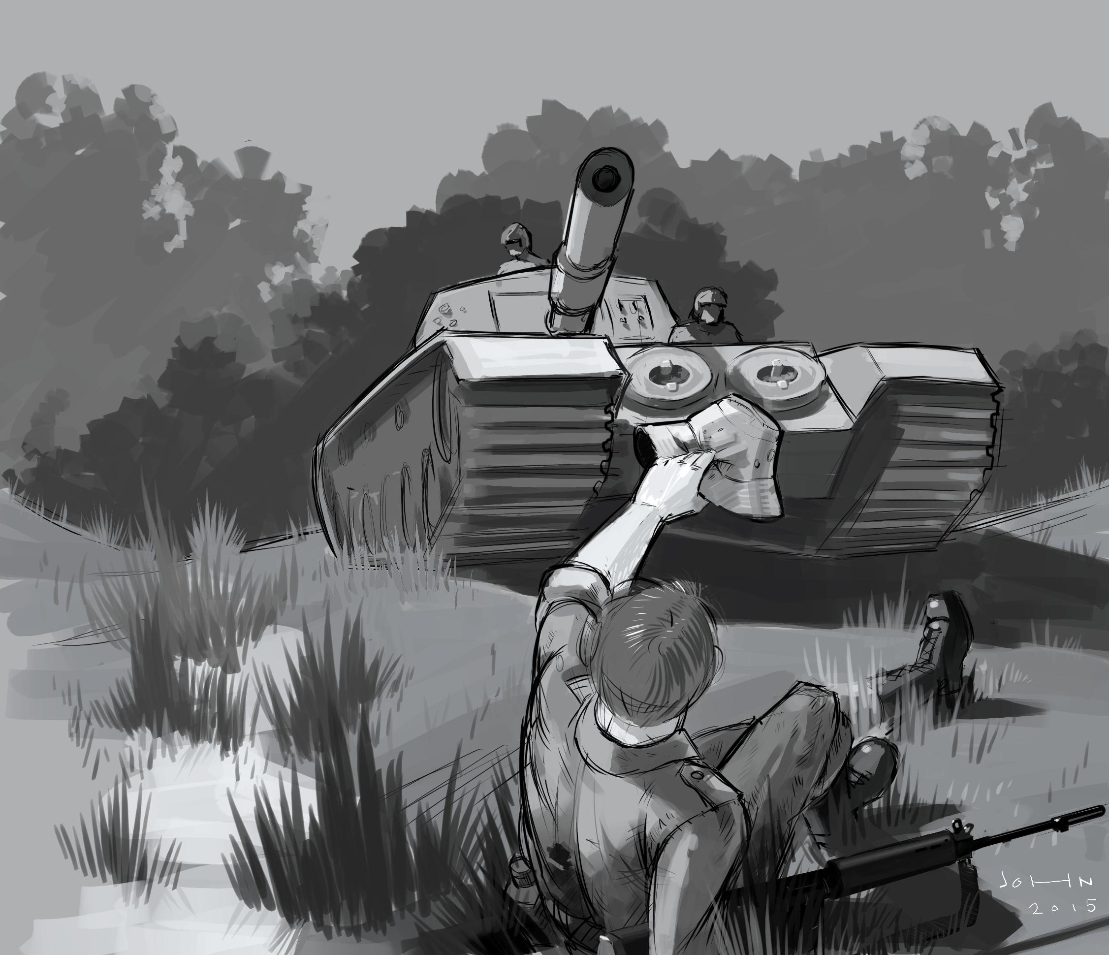 Digital illustration depicting a true event of an Australian digger's rescue in the Vietnam War.